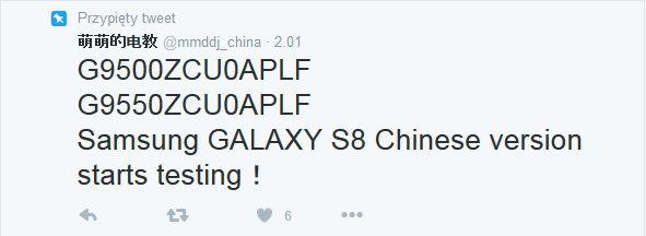 Zapowiedź testów chińskich wersji Galaxy S8