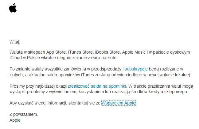 Informacja przesłana przez Apple