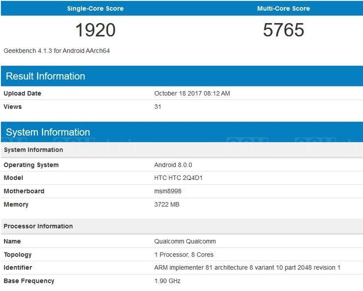 HTC 2Q4D1 w Geekbench