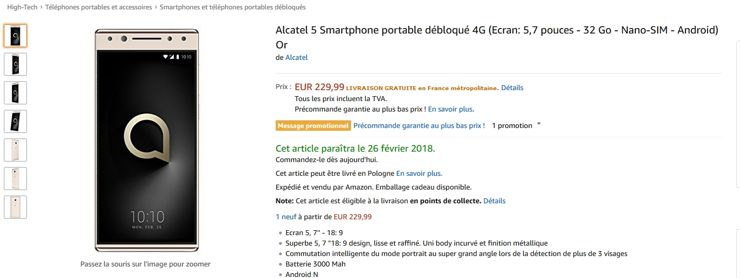 Alcatel 5 w sklepie Amazon