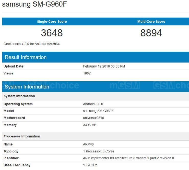 Samsung Galaxy S9 w Geekbench