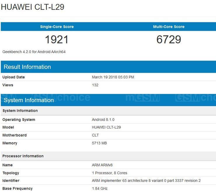 Huawei P20 Pro w Geekbench