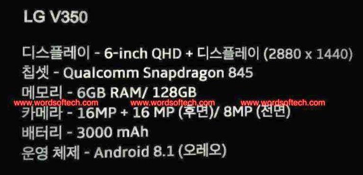 Rzekoma specyfikacja LG V35 ThinQ