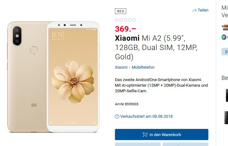 Xiaomi Mi A2 w szwajcarskim sklepie