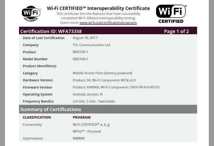 Certyfikat WiFi Alliance dla BlackBerry Krypton w wersji BBD100-1