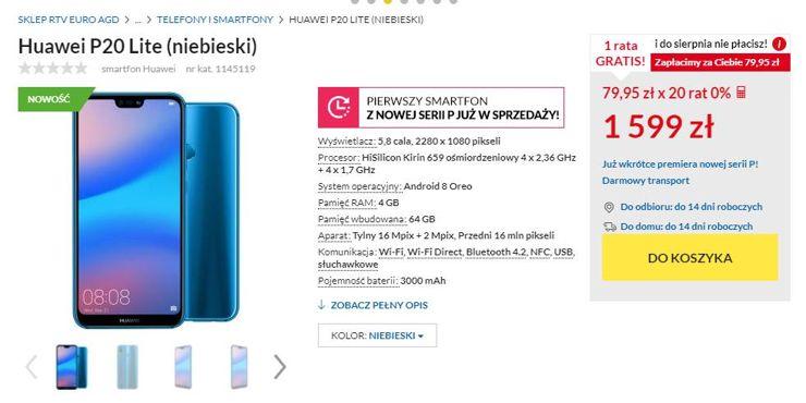 Oferty przedsprzedażowe na model Huawei P20 Lite