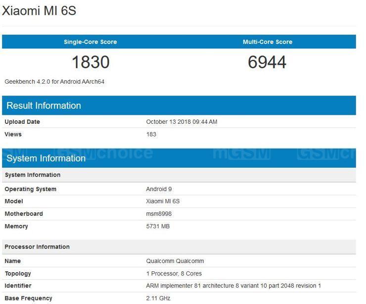 Xiaomi Mi 6S w Geekbench