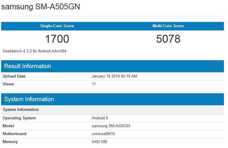 Samsung Galaxy A50 w Geekbench