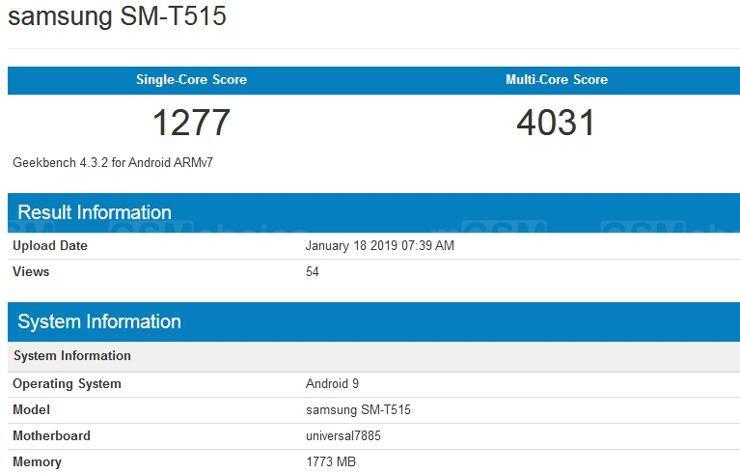 Samsung SM-T515 w Geekbench