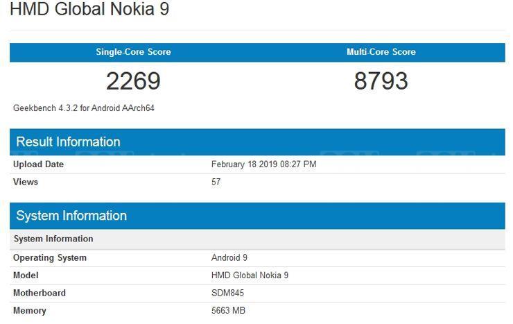 Nokia 9 w Geekbench