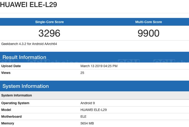 Huawei P30 w Geekbench