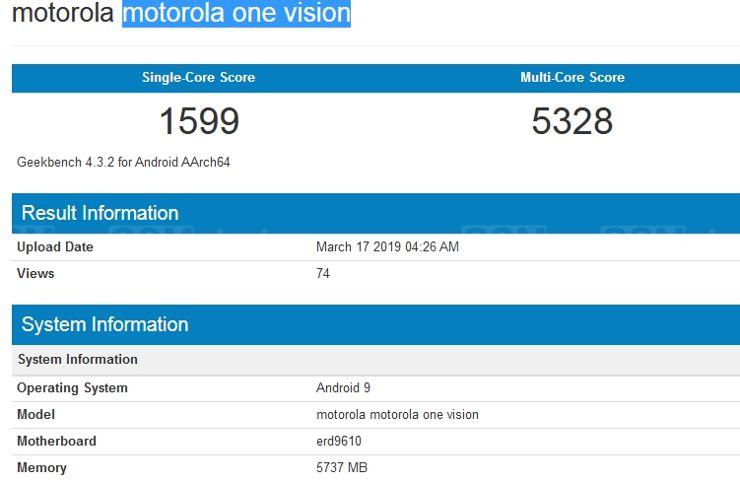 Motorola One Vision w Geekbench