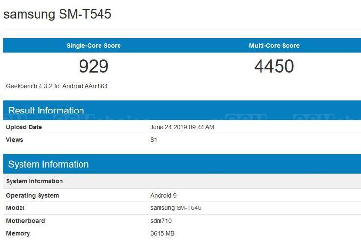 Samsung SM-T545 w Geekbench