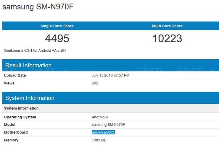 Samsung Galaxy Note10 w Geekbench