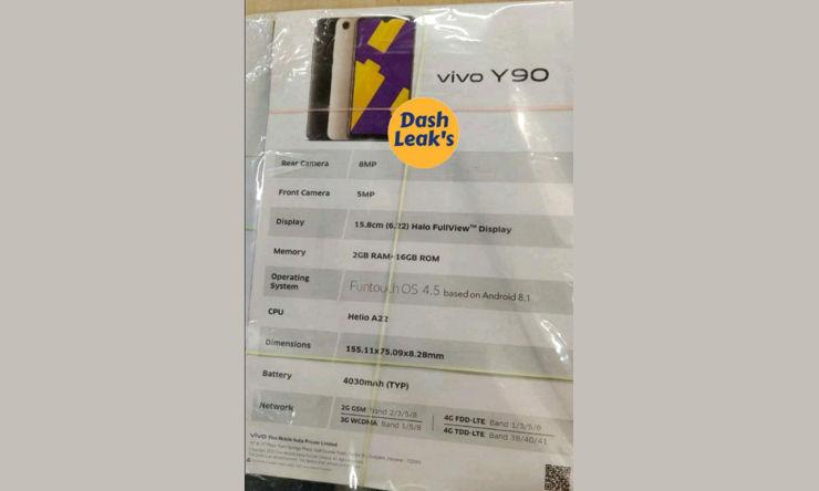 Ulotka z danymi Vivo Y90