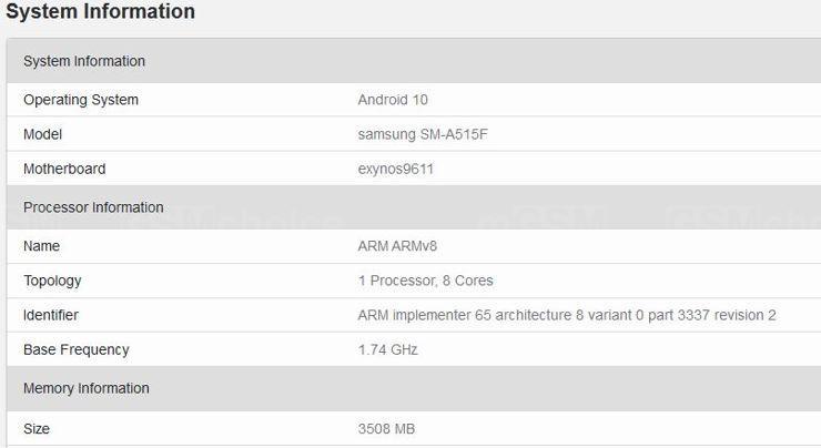 Samsung Galaxy A51 w Geekbench