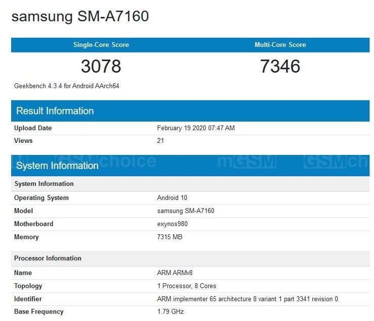 Samsung Galaxy A71 5G w Geekbench