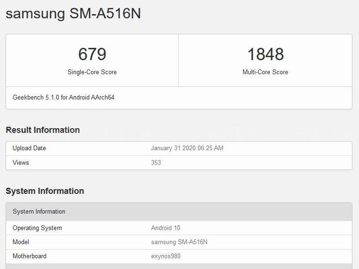 SM-A516N w Geekbench