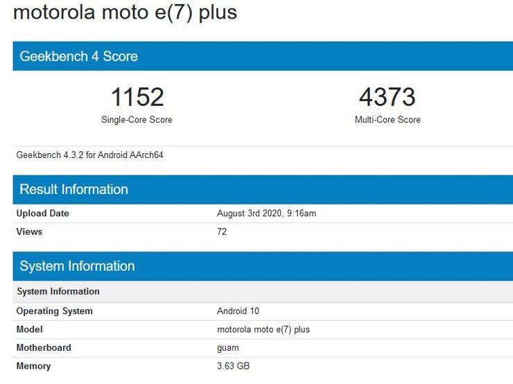 Motorola Moto E7 Plus w Geekbench