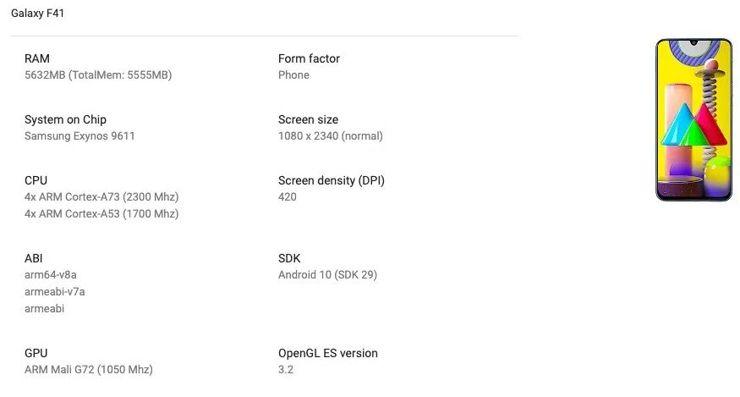 Samsung Galaxy F41 w Google Play Console