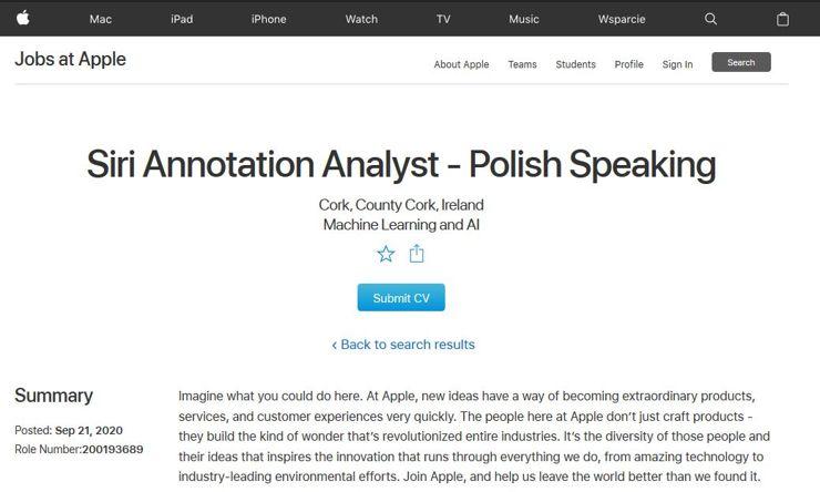 Ogłoszenie na stronie Apple