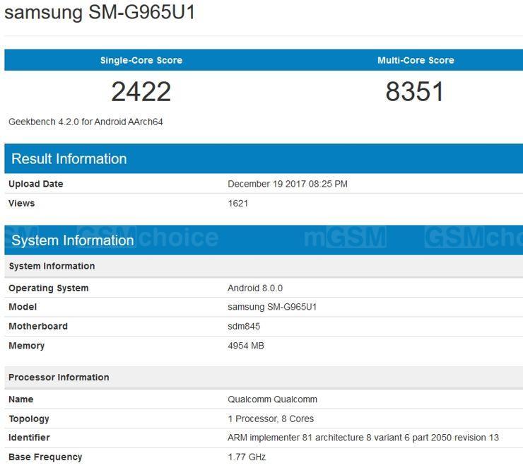 Samsung Galaxy S9+ w Geekbench