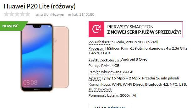 Przedsprzedażowa oferta na modele Huawei P20 Lite