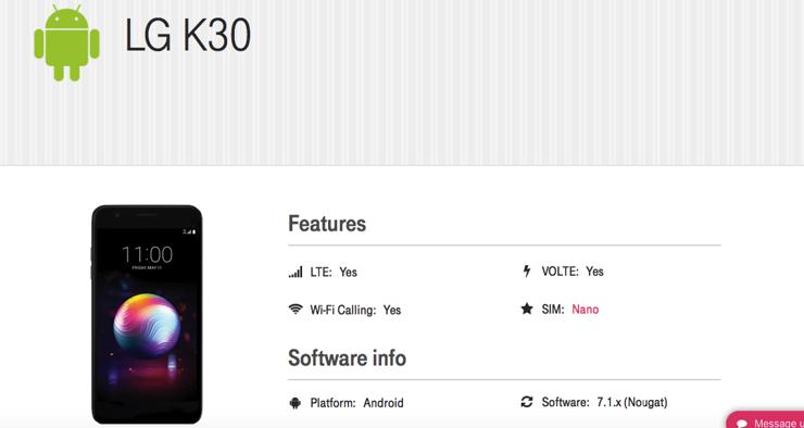 LG K30 na stronie T-mobile USA
