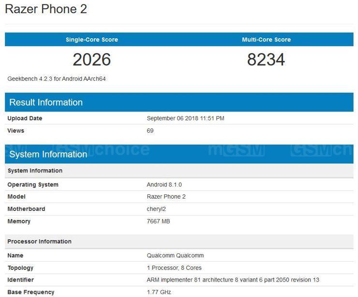 Razer Phone 2 w Geekbench