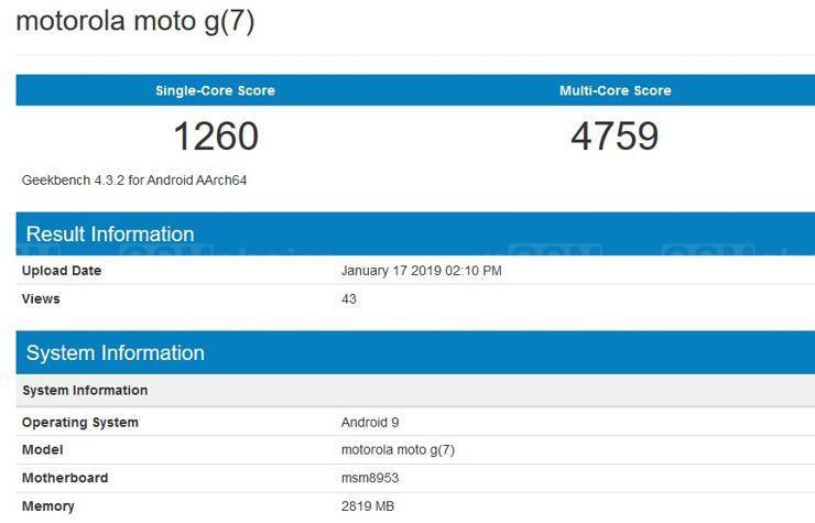 Moto G7 w Geekbench
