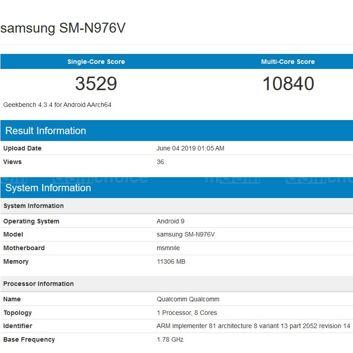 Samsung Galaxy Note10 w Geekbench