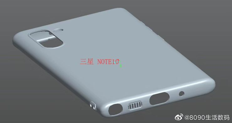Pokrowiec do Note10 na szkicach CAD