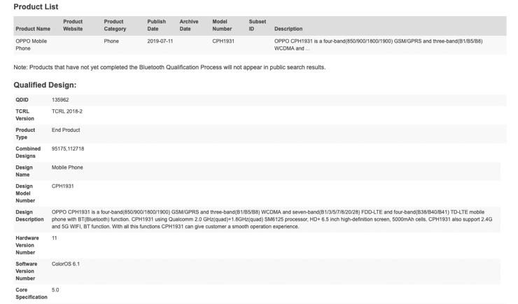 Informacje o Oppo CPH1931 z bazy Bluetooth SIG