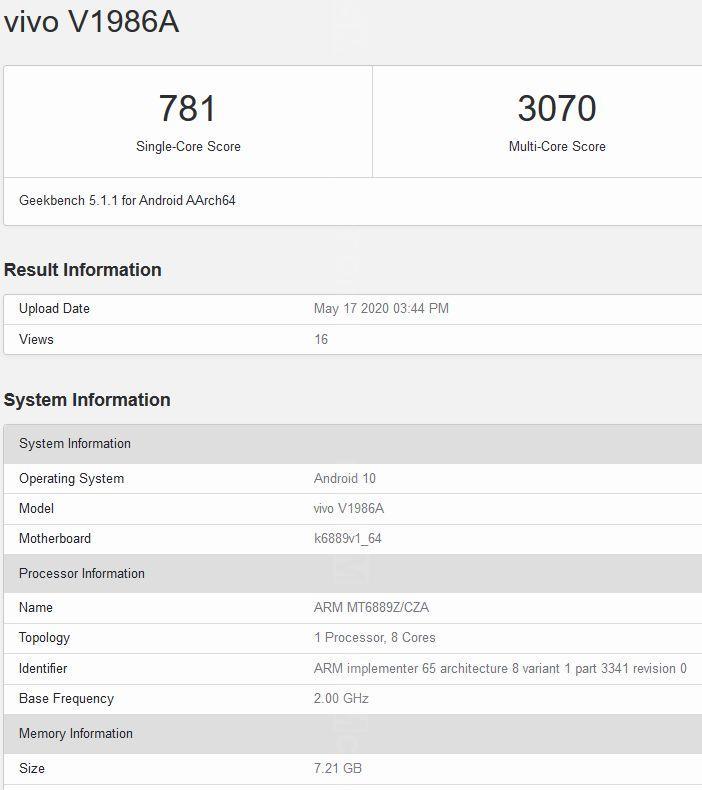 Vivo iQOO Z1 5G w Geekbench