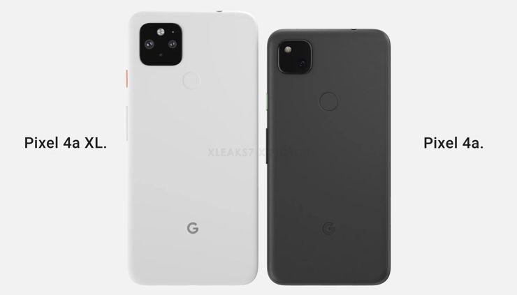 Porównanie wizualne Google Pixel 4a XL i Google Pixel 4a