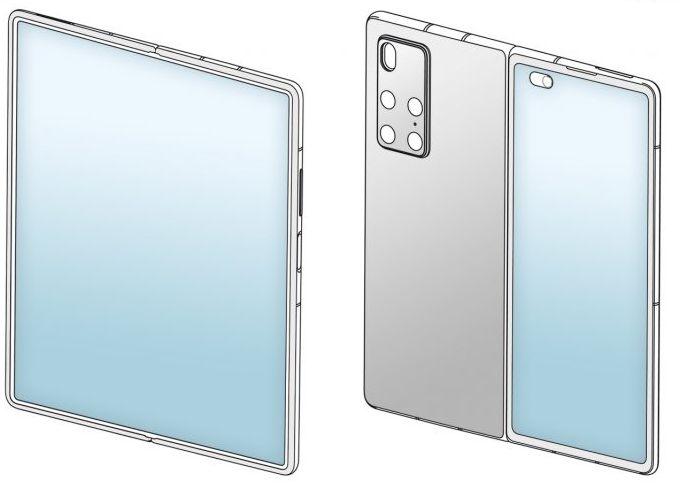 Szkic przedstawiający prawdopodobnie Huawei Mate X2