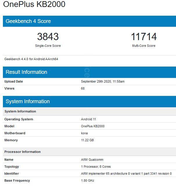 OnePlus 8T w Geekbench