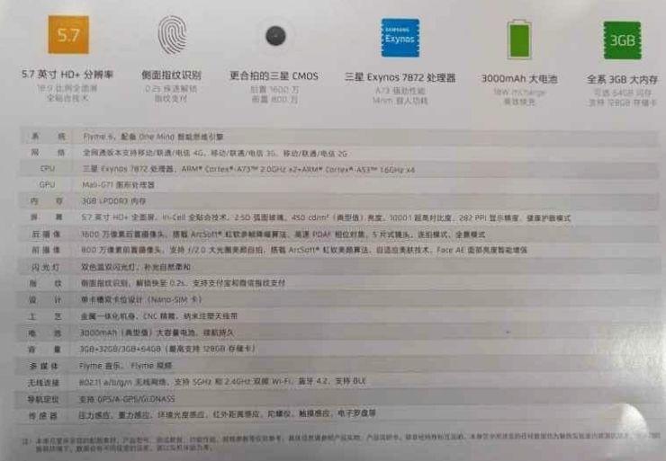 Specyfikacja Meizu M6s