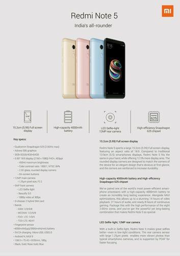 Karty specyfikacji Xiaomi Redmi Note 5 i Note 5 Pro