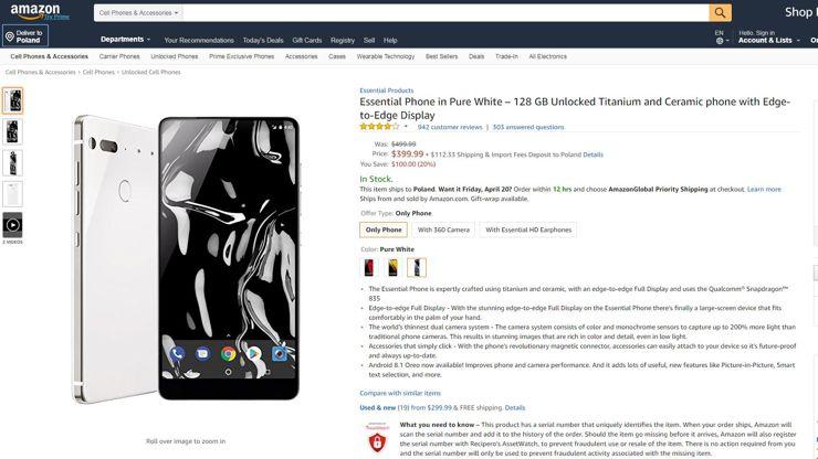 Essential Phone w amerykańskim Amazonie