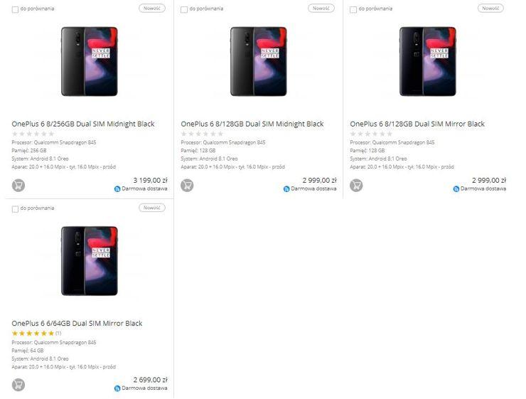 Modele OnePlus 6 w ofercie sklepu