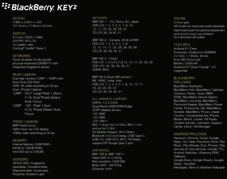 Specyfikacja BlackBerry KEY2
