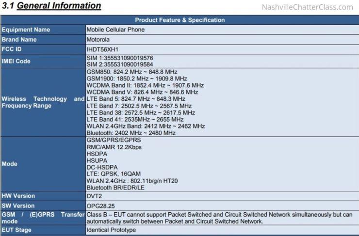Dane ze strony FCC na temat modelu XT1920