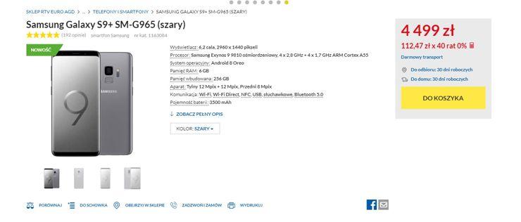Galaxy S9+ - oferta sklepu RTV Euro AGD