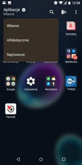 Podmenu aplikacji, zasobnik, jego opcje, folder i widżety