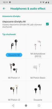 Menu aplikacji | Pilot Mi | Mi Drop | Ustawienia dźwięku