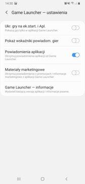 Menu ustawień i Game Launcher
