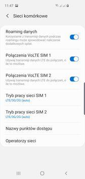 Ustawienia dwóch kart SIM | Połączenia głosowe
